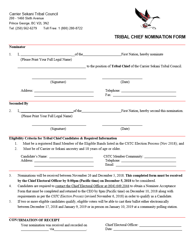 Tribal Chief Nomination Form – end date Dec 5th, 2018