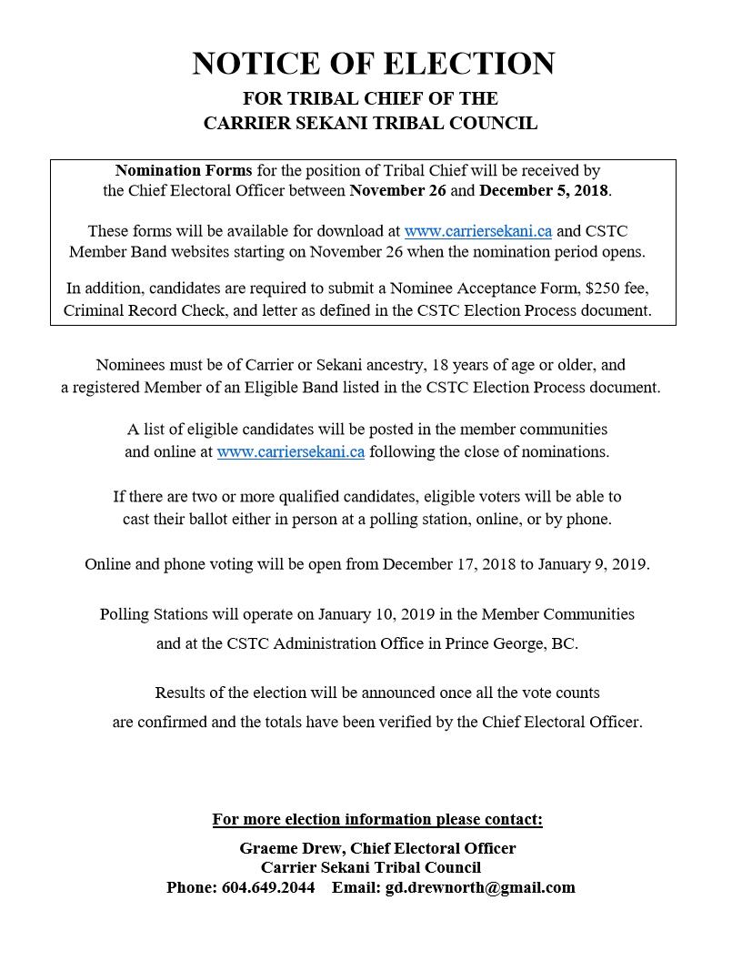 CSTC Tribal Chief Nomination process