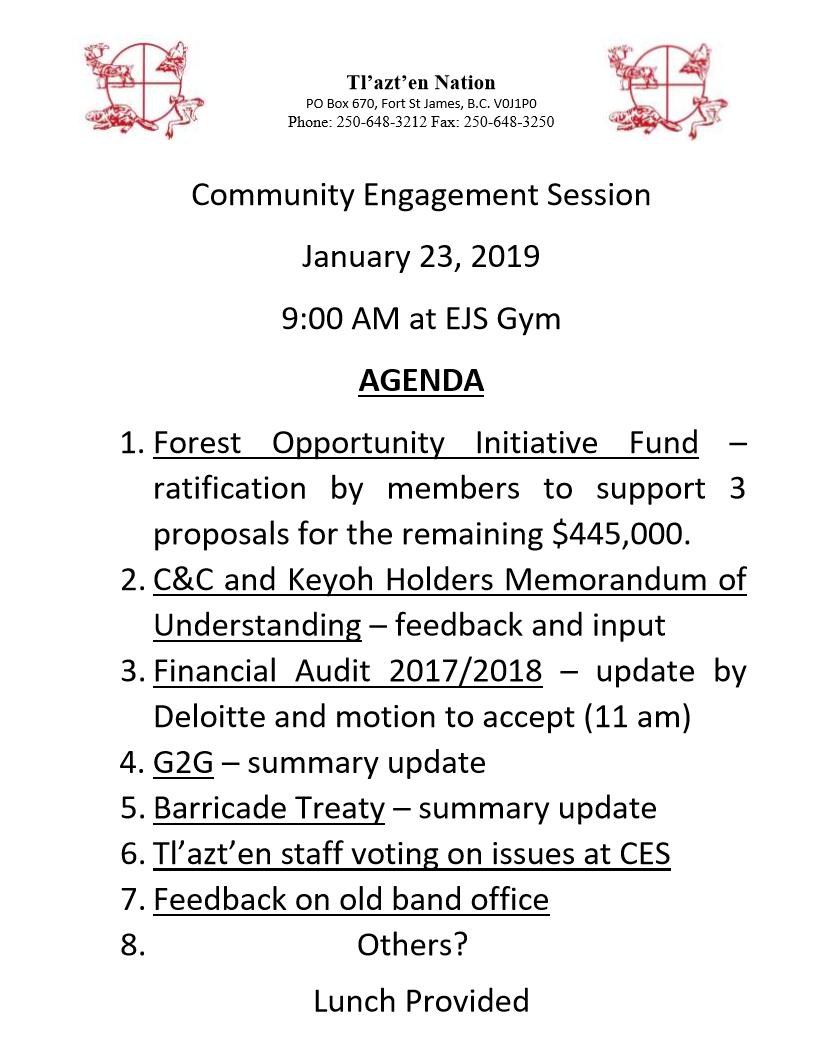 Community Engagement Session January 23, 2019