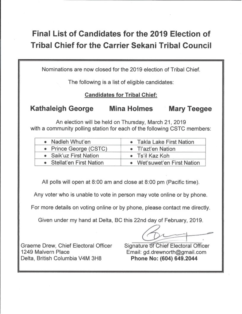 CSTC Tribal Chief Candidates