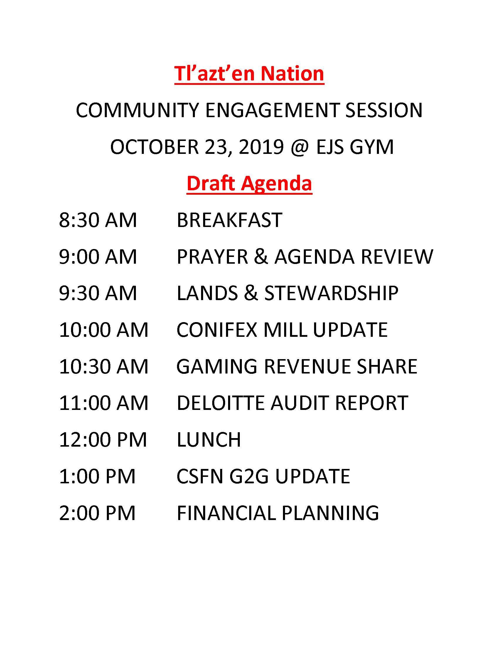 Community Engagement October 23, 2019